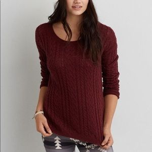 AMERICAN EAGLE Maroon Cable Knit Soft Sweater